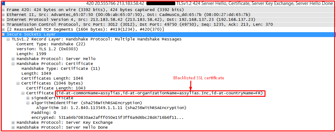 Fig 10: SSL Certificate Information